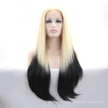 Peruca sintética resistente ao calor por muito tempo reta reta do ombre da peruca do laço da peruca de Ombre para mulheres brancas