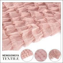 Fábrica fornecedor fantasia malha floral bordado rosa tecido chiffon