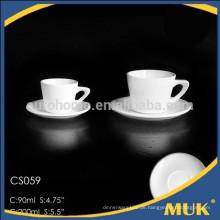 Porzellanlieferant heißer Verkauf weißer Knochenporzellan runder Entwurf Teetasse