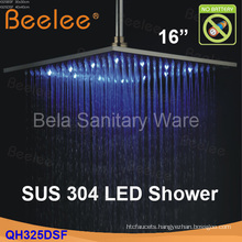 "Wall Mounted Square 16"" Stainless Steel Rainfall LED Shower Head (Qh326dsf)"