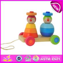 Juguete de madera para niños, tirón de apilamiento colorido a lo largo del payaso para niños, juguete de madera del tirón hacia atrás para el bebé W05b069