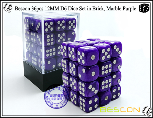 Bescon 36pcs 12MM D6 Dice Set in Brick, Marble Purple-1