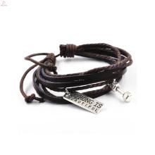 Couro barato do multi falso do vintage da camada que tende o bracelete quente do Gym dos produtos
