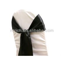 gravata de faixa de cadeira cetim preto, chique moda volta, laço, nó, laços de cadeira para casamentos