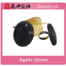 mode populaire rugueux chunky artificielle grand vintage semi-précieux multi couleur unique grande pierre