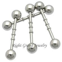 316L aço triplo entalhado reto Piercing anel de cartilagem da orelha