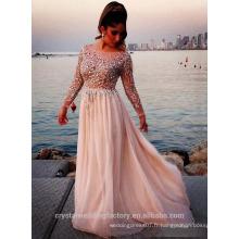 Alibaba Elegant Long Nouveau Designer Long Sleeve rose Couleur Beach Robes de soirée ou Robe de demoiselle d'honneur lourd LE34