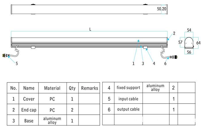 Dimension of DMX LED Tube