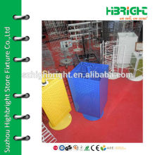 colourful perforated counter top display stand with plastic base