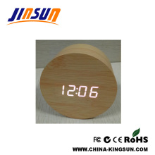 Bamboo Effect Led Round Shape Clock