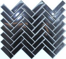 단순한 사각형 블랙 광택 도자기 모자이크 유리