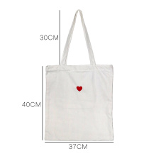 Canvas Bag Love Embroidery Patch Handbag Red Heart