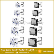 Stainless Steel Prong Set Clear Square Cubic Zircon Ear Stud