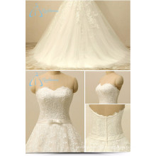 Bandage Lace Appliques Tulle Bow Sash Zipper A-Line Wedding Dress