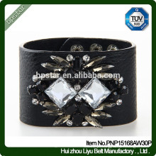 2015New Fashion Diamonds Bracelet Bracelete de couro preto e preto / homens