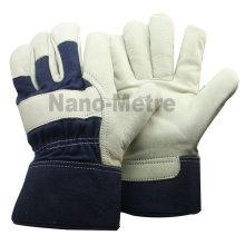 NMSAFETY Blanc Cuir de vachette avec dos en coton bleu et gant caoutchouté