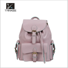 Bright color white full-grain leather backpack women 2014