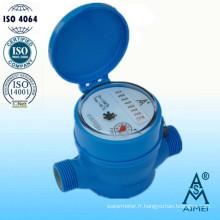 Compteur d'eau Jet unique cadran sec corps en plastique