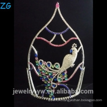 Beautiful Peacock Crown Colored Rhinestone Pageant Tiara