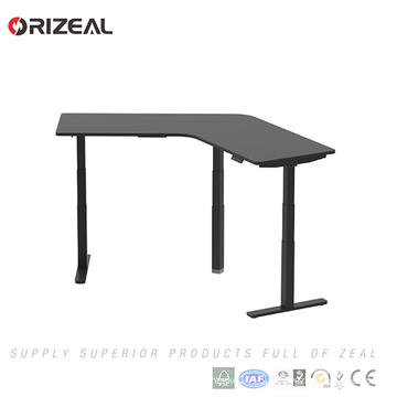 Corner sit Standing Desk 120 Degree Electric Adjustable Height Office Desk