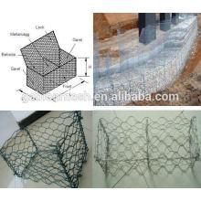 Fabricação profissional gabion rede de gaiola de pedra 2 * 1 * 1 e malha de rede de arame hexagonal para parede de pedra (própria fábrica)
