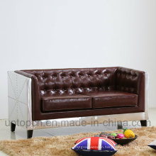 Special Design Living Room Sofa Furniture with Metal Structure and PU Leather Upholstery (SP-KS338)