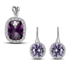 Sterling Silver Jewelry Set with Crystal