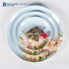 Natürliche Stil Personalisierte Design Fine Bone China Porzellan Abendessen Teller und Geschirr