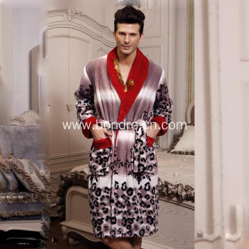 Fashionable Animal Pattern Fleece Mens Bathrobe
