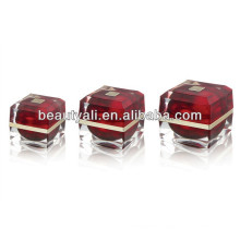 15ml 30ml 50ml Red Luxury Square Acrylic Cosmetic Cream Jar