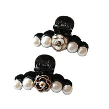 Black White Camellia Pearl Hair Claw Vertical Ponytail Clip for Women Girl Flower Handmade Fashion Hair Pin Accessories