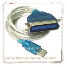 Alta calidad A ESTRENAR 3m USB2.0 varón a 25pin DB25 cable paralelo femenino de la impresora de la impresora Blanco transparente