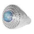 Natürlicher Larimar Edelstein 925 Sterling Silber Ring