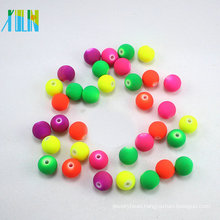 New style solid bright round glass neon color rubber beads