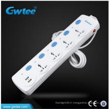 Protection contre les surtensions 2.1Apm USB Prise et prise électrique avec interrupteurs indépendants