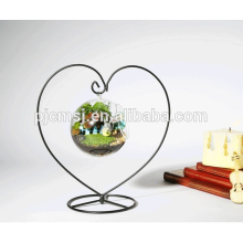 Heart Shape Vase With Hanging Crystal Glass Vase For Weddings