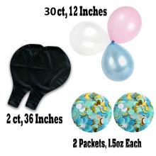 Schwarzer Riesenballon; Rosa und blaues Geschlecht offenbaren Ballon