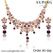 Ensemble de bijoux de fleur d'imitation plaqué or 18k luxe Fashion avec strass (S-7)
