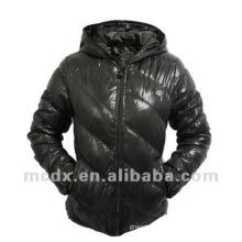 Women winter black down jacket hood