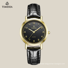 Top Quality Women′s Quartz Watch with Black Lether Strap 71043