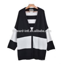 Suéter largo de la rebeca de la manga del v-cuello de las mujeres de alta costura 2014-2015