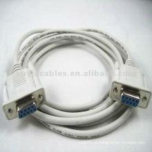 Beige Serial DB9 Cable de Extensión Femenino a Femenino 3meter