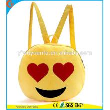 Горячая Качество Забавный Симпатичные Круглый Желтый Цвет Emoji Плюшевые Drawstring Сумка