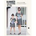2016 verano nueva moda mami y yo vestir coreano stlye suelta diseño largo T-shirt vestido familia coincidencia de ropa al por mayor