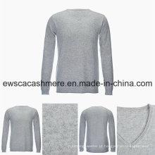 Camisola de caxemira pura da categoria superior do estilo ocasional da cor sólida do decote em V dos homens