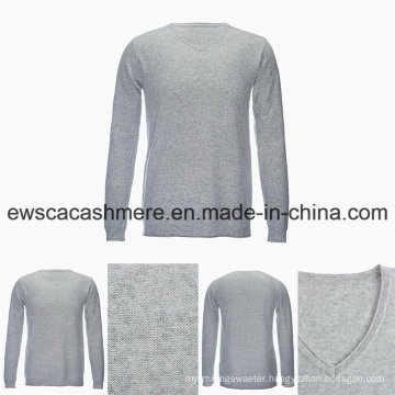 Men′s V-Neck Solid Color Casual Style Top Grade Pure Cashmere Sweater