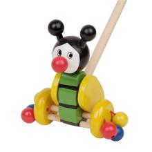 Brinquedos felizes do animal dos miúdos Meu caminhão de madeira que empurra o brinquedo longo