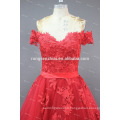 ED Bridal Off Shoulder Red Tulle with Lace Applique Lace Up Alibaba Prom Dress