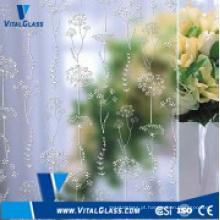 4-6mm Ácido Etched Art Glass para Vidro Decorativo de Parede