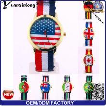 Yxl-496 Made in China Nato Strap Watch Nylon OEM Personalizado Dial Bandeira Homens de Alta Qualidade Relógio de Pulso Por Atacado